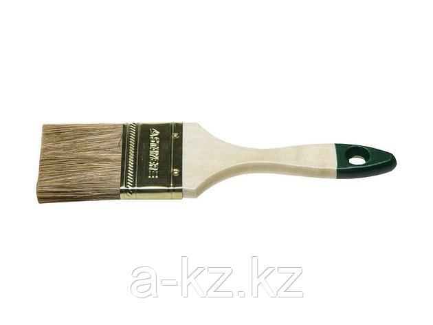 Кисть плоская малярная STAYER 01031-75, LASUR-STANDARD, смешанная (натуральная и искусственная) щетина, деревянная ручка, 75 мм, фото 2