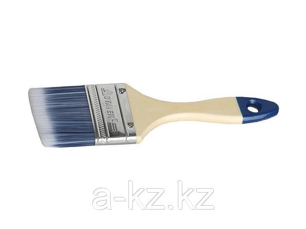 Кисть плоская малярная STAYER 01032-063, AQUA-STANDARD, искусственная щетина, деревянная ручка, 63 мм, фото 2