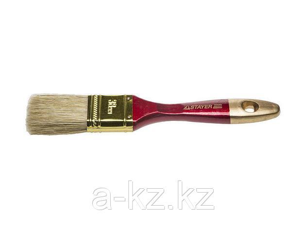 Кисть плоская малярная STAYER 0104-038, UNIVERSAL-PROFI, светлая натуральная щетина, деревянная ручка, 38 мм, фото 2
