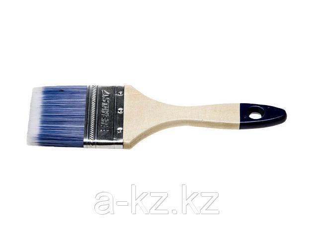 Кисть плоская малярная STAYER 01032-075, AQUA-STANDARD, искусственная щетина, деревянная ручка, 75 мм, фото 2