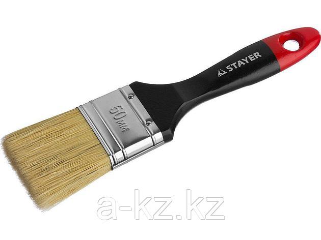 Кисть плоская малярная STAYER 0104-050, UNIVERSAL-PROFI, светлая натуральная щетина, деревянная ручка, 50 мм, фото 2