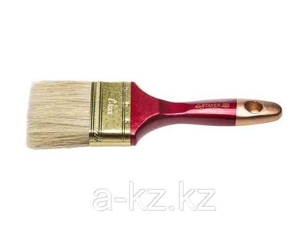 Кисть плоская малярная STAYER 0104-075, UNIVERSAL-PROFI, светлая натуральная щетина, деревянная ручка, 75 мм, фото 2