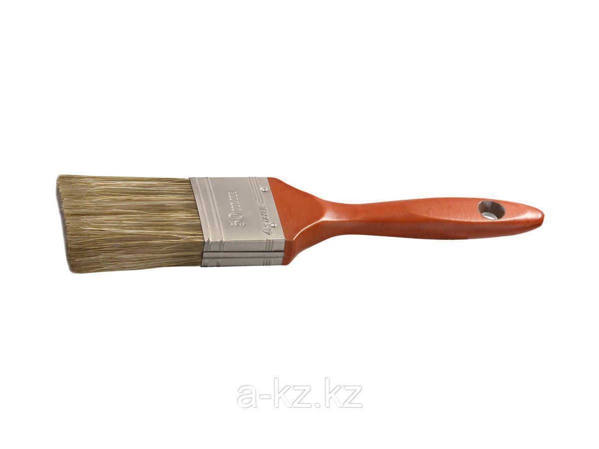Кисть плоская малярная STAYER 01051-050, LASUR - LUX, деревянная ручка, смешанная щетина, 50 мм