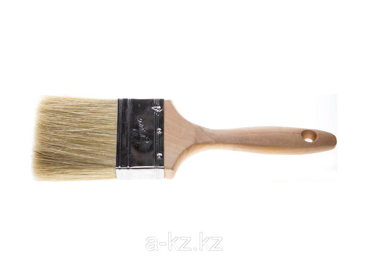 Кисть плоская малярная STAYER 01053-075, UNIVERSAL-LUX, светлая натуральная щетина, деревянная ручка, 75 мм
