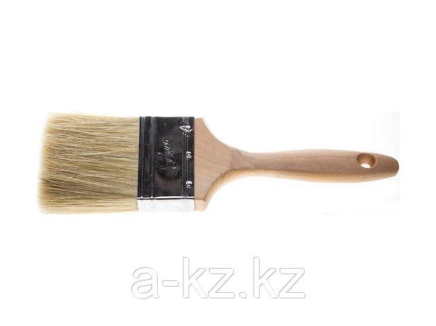 Кисть плоская малярная STAYER 01053-075, UNIVERSAL-LUX, светлая натуральная щетина, деревянная ручка, 75 мм, фото 2