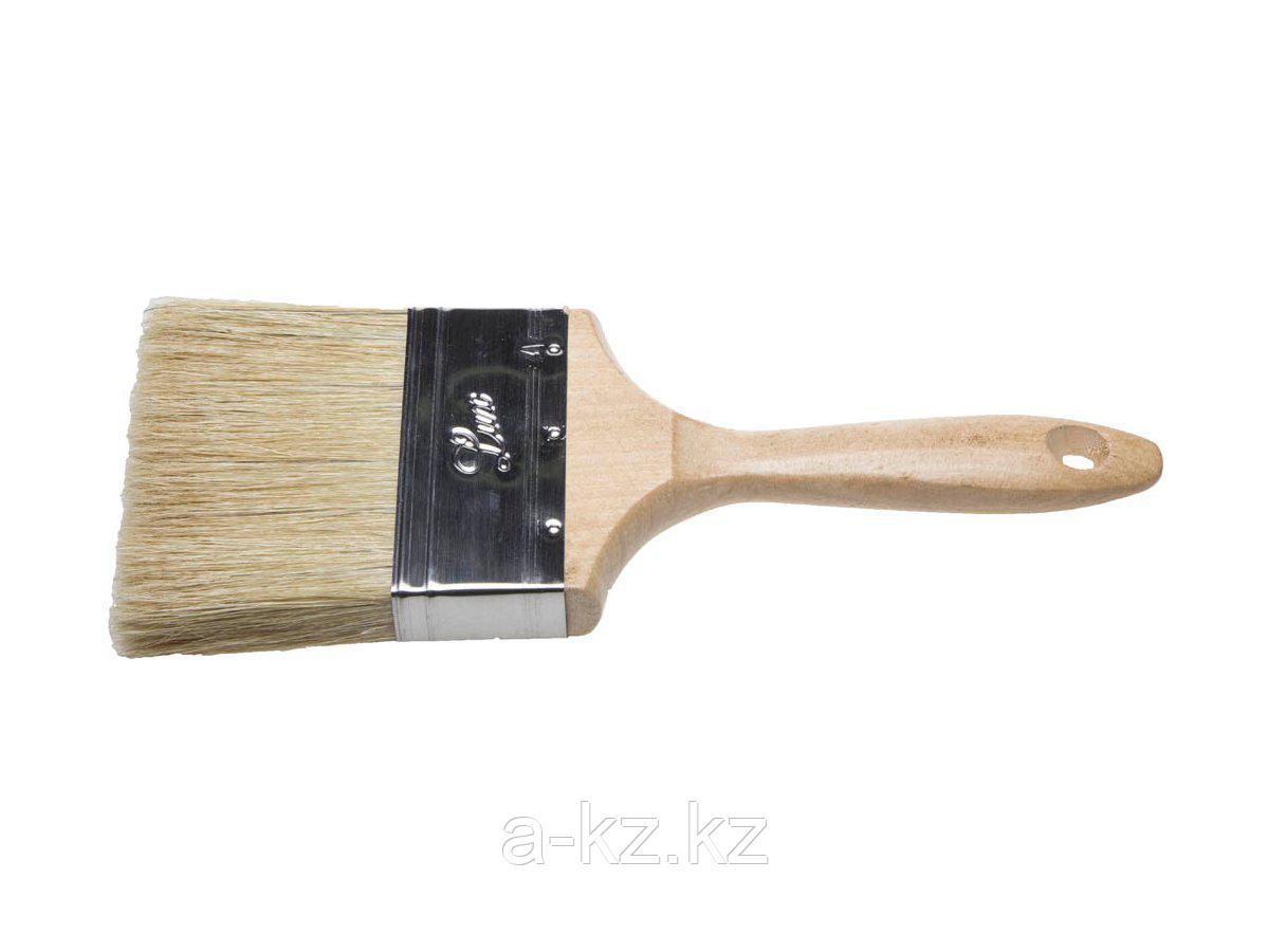 Кисть плоская малярная STAYER 01053-100, UNIVERSAL-LUX, светлая натуральная щетина, деревянная ручка, 100 мм
