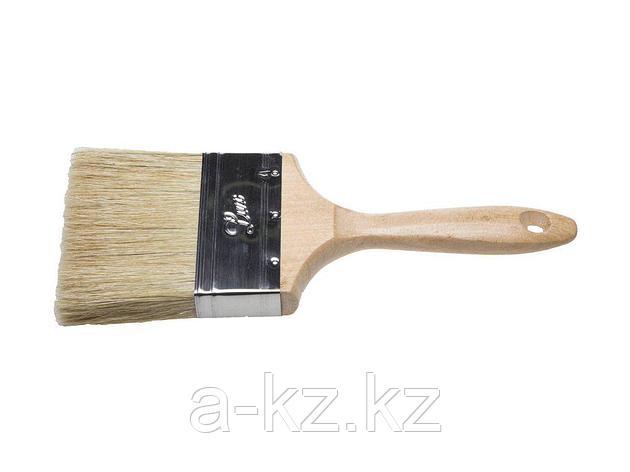 Кисть плоская малярная STAYER 01053-100, UNIVERSAL-LUX, светлая натуральная щетина, деревянная ручка, 100 мм, фото 2