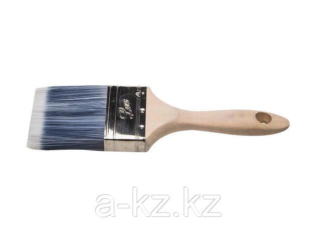 Кисть плоская малярная STAYER 01055-075, AQUA-LUX, искусственная щетина, неокрашенная профессиональная деревянная ручка, 75 мм, фото 2