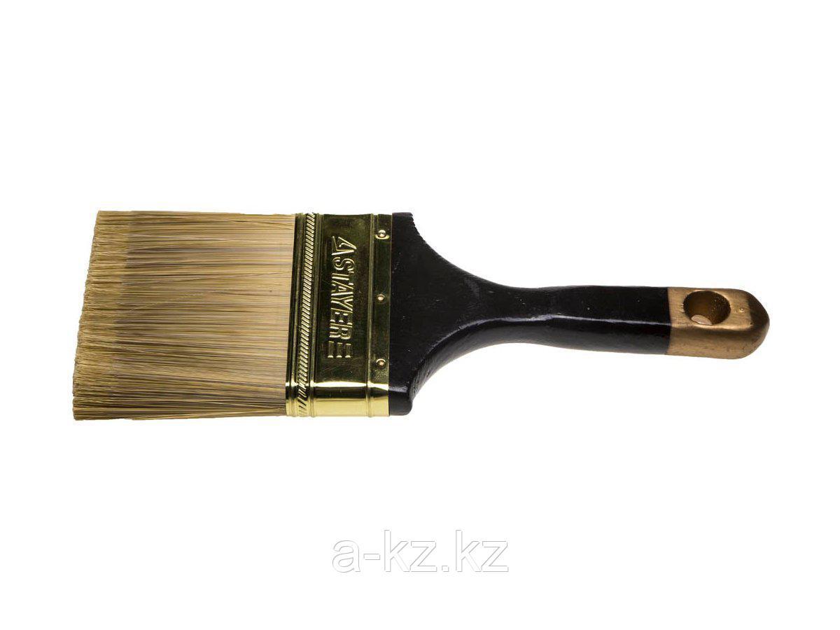 Кисть плоская малярная STAYER 0106-100, AQUA-KANEKARON, искусственная щетина, деревянная ручка, 100 мм