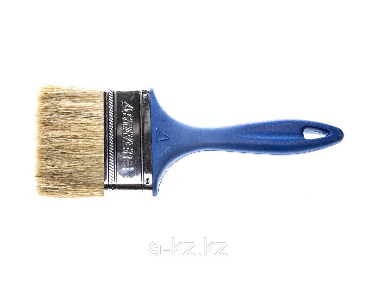 Кисть плоская малярная STAYER 01085-100_z01, UNIVERSAL-PROFI, светлая натуральная щетина, пластмассовая ручка, 100 мм