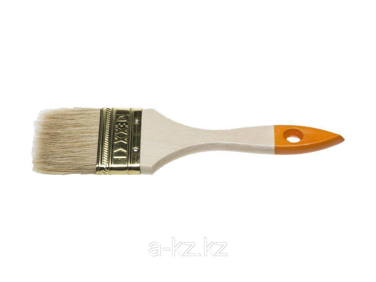 Кисть плоская малярная DEXX 0100-063_z02, ПРАКТИК, деревянная ручка, натуральная щетина, индивидуальная упаковка, 63 мм