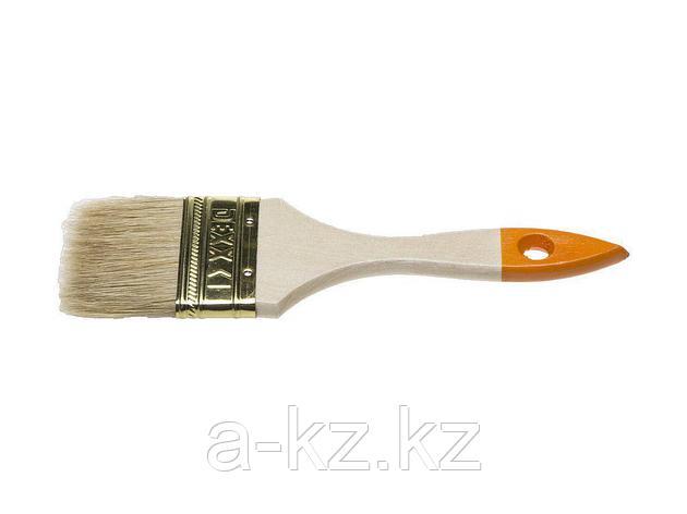 Кисть плоская малярная DEXX 0100-063_z02, ПРАКТИК, деревянная ручка, натуральная щетина, индивидуальная упаковка, 63 мм, фото 2