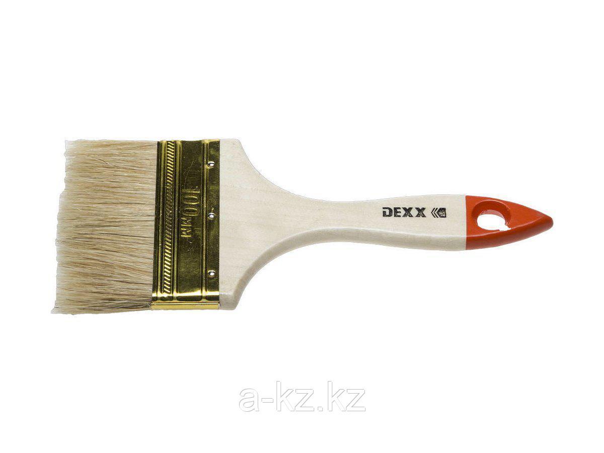 Кисть плоская малярная DEXX 0100-100_z02, ПРАКТИК, деревянная ручка, натуральная щетина, индивидуальная упаковка, 100 мм