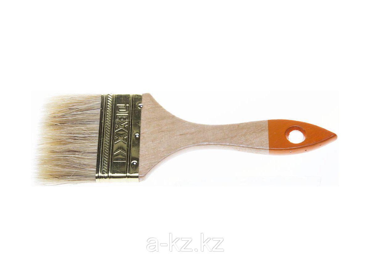 Кисть плоская малярная DEXX 0100-075_z02, ПРАКТИК, деревянная ручка, натуральная щетина, индивидуальная упаковка, 75 мм