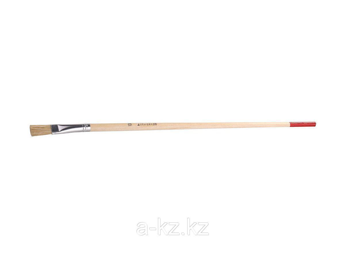 Кисть круглая малярная тонкая STAYER 0124-10, UNIVERSAL-STANDARD, светлая натуральная щетина, деревянная ручка, №10 x 11 мм