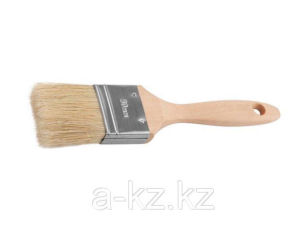 Кисть плоская малярная ЗУБР 01005-050, УНИВЕРСАЛ-ЭКСПЕРТ, для всех видов ЛКМ, светлая натуральная щетина, деревянная ручка, 2/50 мм, фото 2