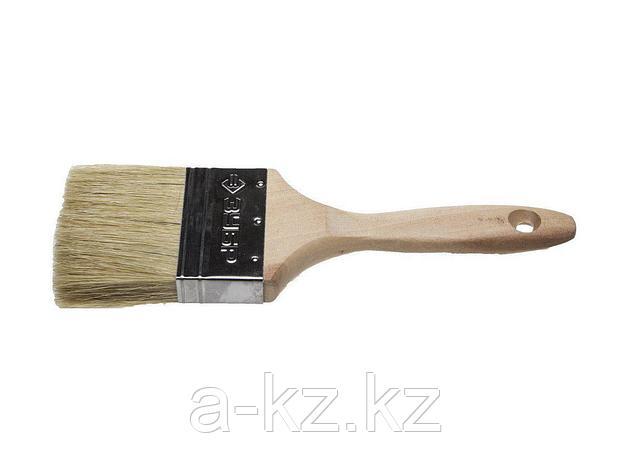 Кисть плоская малярная ЗУБР 01005-075, УНИВЕРСАЛ-ЭКСПЕРТ, для всех видов ЛКМ, светлая натуральная щетина, деревянная ручка, 3/75 мм, фото 2