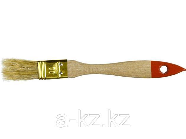 Кисть плоская малярная ЗУБР 01099-020_z01, УНИВЕРСАЛ-ОПТИМА, светлая щетина, деревянная ручка, 20мм, фото 2