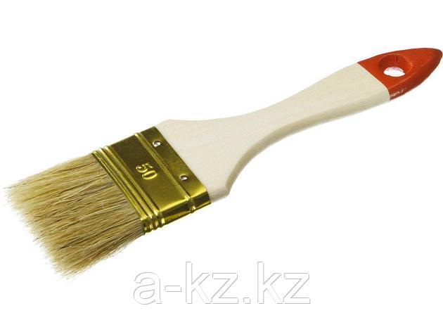 Кисть плоская малярная ЗУБР 01099-050_z01, УНИВЕРСАЛ-ОПТИМА, светлая щетина, деревянная ручка, 50мм, фото 2