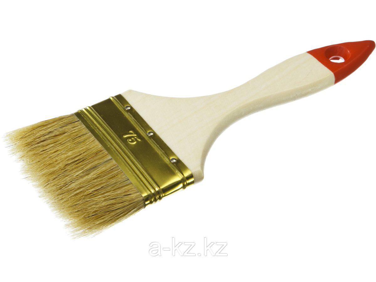 Кисть плоская малярная ЗУБР 01099-075_z01, УНИВЕРСАЛ-ОПТИМА, светлая щетина, деревянная ручка, 75мм