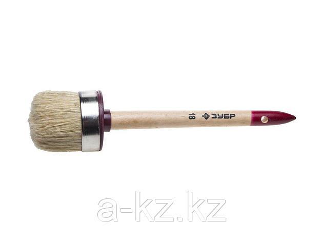 Кисть круглая малярная ЗУБР 01501-60, УНИВЕРСАЛ - МАСТЕР, светлая щетина, деревянная ручка, №18 х 60 мм, фото 2