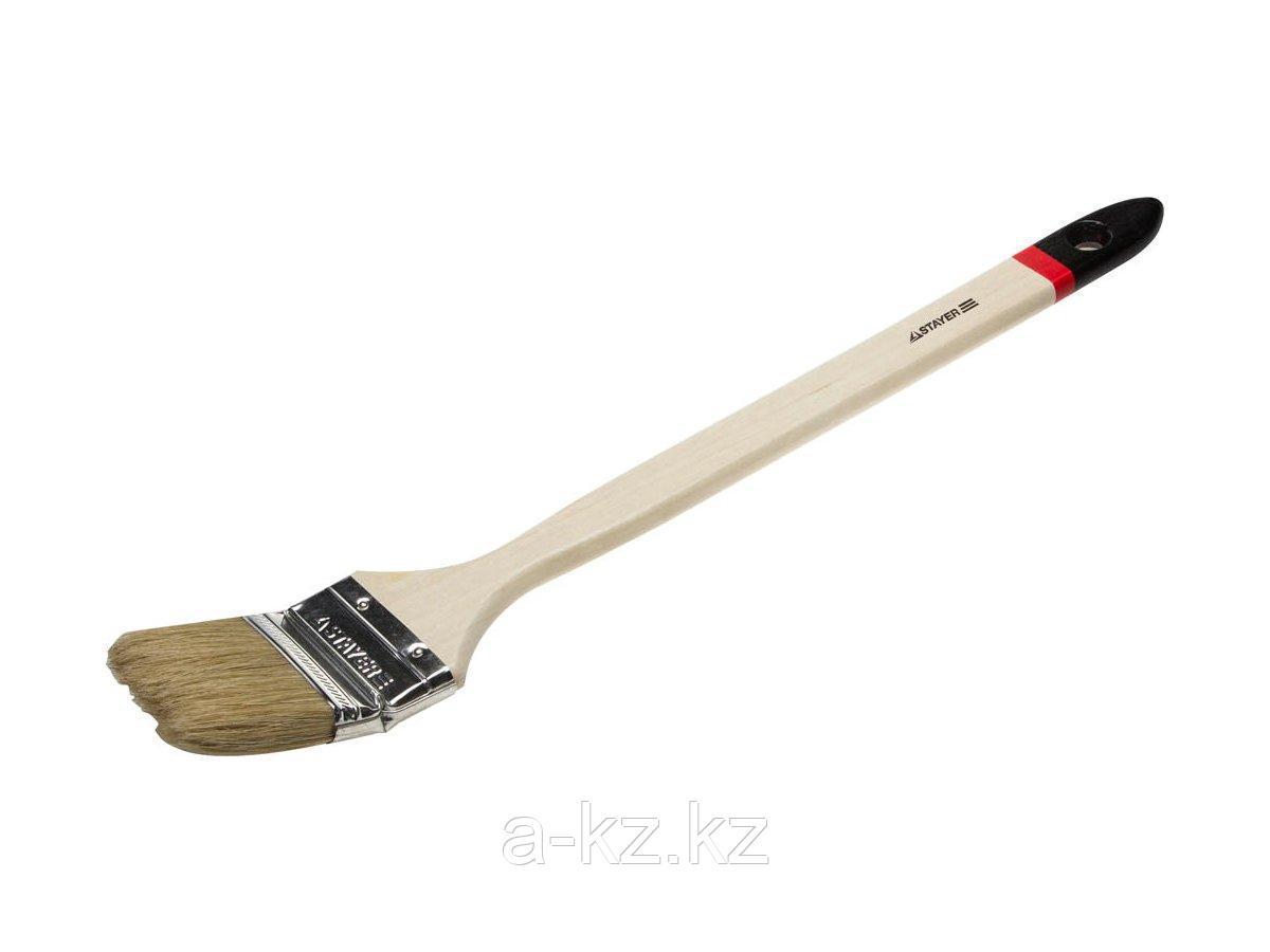 Кисть радиаторная малярная STAYER 0112-63_z01, MASTER, светлая натуральная щетина, деревянная ручка, 2,5/63 мм