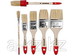 Кисть плоская малярная набор STAYER 0162-H6_z01, STANDARD UNIVERSAL, светлая натуральная щетина, деревянная ручка, 6 шт.