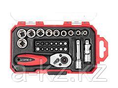 Набор инструментов торцовые головки ЗУБР 27642-H27, МАСТЕР, дополнительные принадлежности, Cr-V, 4 - 13 мм, 27 предметов