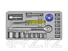 Набор инструментов торцовые головки DEXX 27602-H20, универсальный, 1/4 + 3/8, 20 предметов