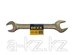 Ключ рожковый гаечный DEXX, желтый цинк, 17х19мм