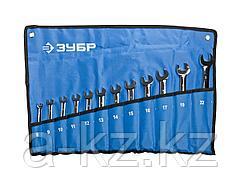 Гаечный комбинированный ключ набор ЗУБР ПРОФИ трещоточный, Cr-V сталь, хромированный, 8-22мм, 12шт., 27075-H12