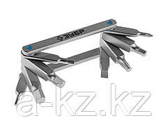 Инструмент многофункциональный Мультитул ЗУБР 27423-H8, ЭКСПЕРТ, Ключи имбус,универс,складные,Cr-V,сатинир покрытие,суперкомпактный,HEX,TORX,PH №1,SL