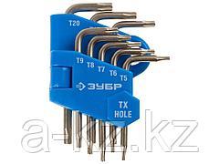 Набор ключей имбусовых ЗУБРЭКСПЕРТМИНИ для точных работ, Cr-V,TORX Т5-Т20, с отверстием, для защищенного крепежа,8шт, 27477-H8