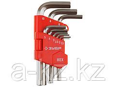 Набор ключей ЗУБР МАСТЕР имбусовые короткие, Cr-V, сатинированное покрытие, пластик. держатель, HEX 1,5-10мм, 9 пред, 27460-1_z02