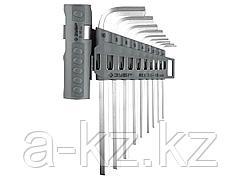 Набор ключей ЗУБР ЭКСПЕРТ имбусовые длинные, Cr-Mo, сатинир. покрытие, держатель-рукоятка, HEX 1,5-10мм, 9 пред, 2745-3-1_z01