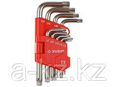 Набор ключей ЗУБР МАСТЕР имбусовые короткие, Cr-V, сатинированное покрытие, пластик. держатель, TORX Т10-Т50, 9 пред, 27462-1_z02