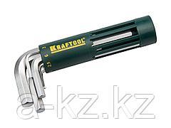 Набор ключей KRAFTOOL EXPERT имбусовые короткие, Cr-Mo сталь, держатель-рукоятка, HEX 2-10мм, 8 пред, 27430-1_z01
