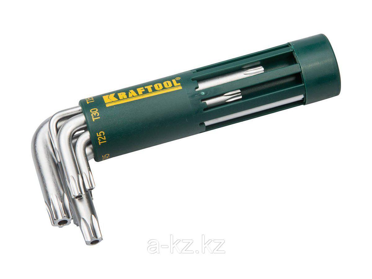 Набор ключей KRAFTOOL EXPERT имбусовые короткие, Cr-Mo сталь, держатель-рукоятка, TORX Hole, T10-T50, 8 пред, 27433-1_z01
