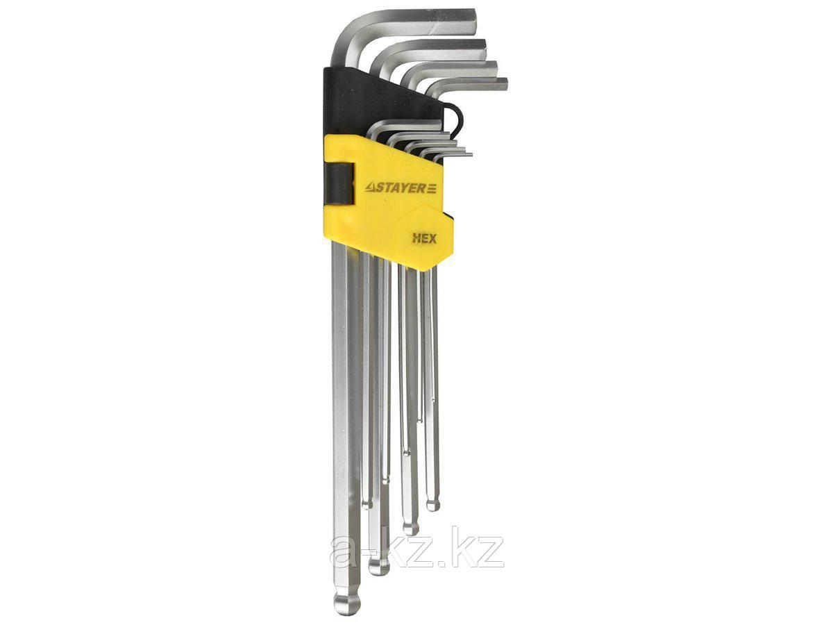 Набор ключей STAYER MASTER имбусовые длинные с шариком, Cr-V, сатинир. покрытие, пластик. держатель, HEX 1,5-10мм, 9 пр, 2741-H9-2