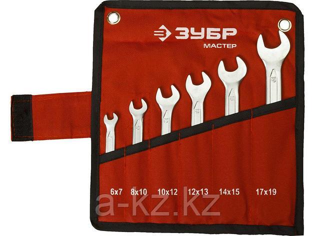 Набор рожковых ключей ЗУБР МАСТЕР, Cr-V сталь, хромированный, 6-19мм, 6шт., фото 2