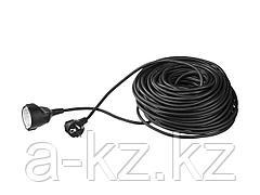 Удлинитель электрический ЗУБР, ПВС 3х1кв мм, черный, 1 гнездо, макс мощн 2200Вт, 30м, 55013-30