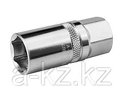 Торцовая головка KRAFTOOL 27812-21_z01, INDUSTRIE QUALITAT, свечная, с резиновой вставкой, Cr-V, FLANK, хромосатинированная, 1/2, 21 мм