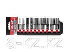 Набор инструментов торцовые головки ЗУБР 27655-H10, МАСТЕР, удлиненные на пластиковом рельсе, Cr-V, 8 - 19 мм, 10 предметов