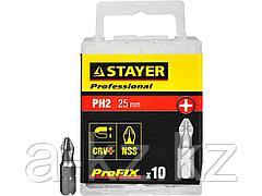 Биты для шуруповерта STAYER 26201-2-25-10_z01, ProFix Phillips, тип хвостовика C 1/4, № 2, L=25 мм, 10 шт.
