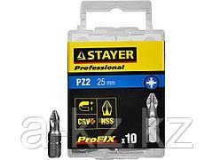 Биты для шуруповерта STAYER 26221-2-25-10_z01, ProFix Pozidriv, тип хвостовика C 1/4, № 2, L=25 мм, 10 шт.