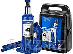 Домкрат гидравлический бутылочный ЗУБР 43060-4-K_z01, Профессионал, T50, 4 т, 192 - 374 мм, в кейсе