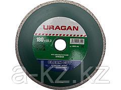 Алмазный диск отрезной URAGAN 36695-180, сплошной, влажная резка, 22,2 х 180 мм
