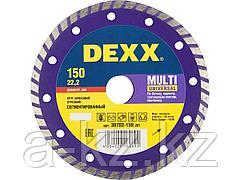 Алмазный диск отрезной DEXX 36702-150_z01, ТУРБО, сегментированный, для УШМ, 150 х 7 х 22,2 мм