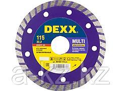 Алмазный диск отрезной DEXX 36702-115_z01, ТУРБО, сегментированный, для УШМ, 115 х 7 х 22,2 мм