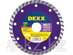 Алмазный диск отрезной DEXX 36702-125_z01, ТУРБО, сегментированный, для УШМ, 125 х 7 х 22,2 мм